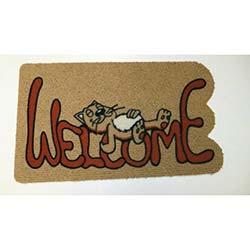 Giz (40x70 cm) İtalyan Halı Flok Welcome Yatan Kedi Desenli Paspas