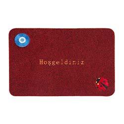 Giz Home Brode Nazar Boncuğu Paspas (Kırmızı) - 40x60 cm