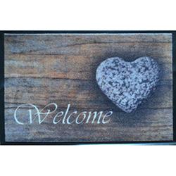 Giz Home Print Mat Welcome Kalp Kapı Önü Paspası - 40x60 cm