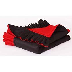 İpek Tafta Kırmızı Siyah Farbelalı Yatak Şalı