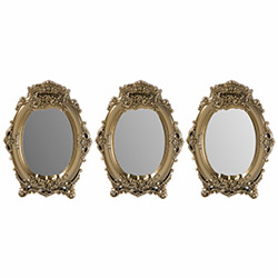 Secret PLS101MA 3'lü Çiçekli Dekoratif Ayna (Altın) - 17x22 cm