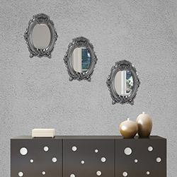 Secret PLS101MA 3'lü Çiçekli Dekoratif Ayna (Gümüş) - 17x22 cm