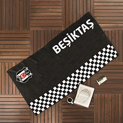 Taç Lisanslı Beşiktaş Dama Plaj Havlusu - 75x150 cm