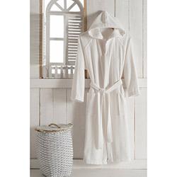 Unisex Alba Bianco Pamuklu Kapşonlu Bornoz (Beyaz) - XL Beden