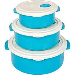 Bager 3'lü Plastik Saklama Kabı Seti - Mavi