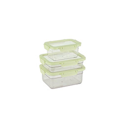 Tantitoni 3'lü Plastik Saklama Kabı Seti - Yeşil