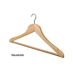4'lü İtalyan Naturel Hortumlu Elbise Askısı - 1