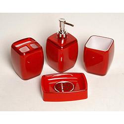 Kosova PBY029 4'lü Akrilik Banyo Seti - Kırmızı