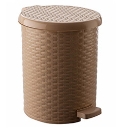 Raddan Pedallı Yuvarlak Çöp Kovası (Krem) - 10 lt