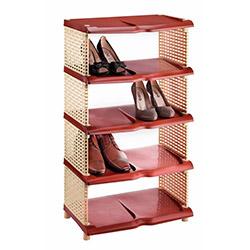 Atadan 5 Katlı Ayakkabılık - Krem / Kahverengi