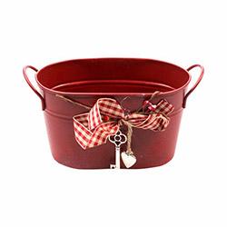 Evino 235 Kurdelalı Oval Metal Saksı - Kırmızı