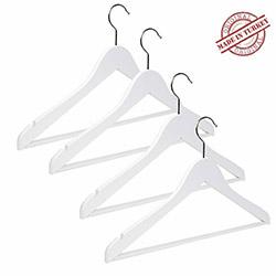NYN 13-1B 4'lü Ahşap Elbise Askısı - Beyaz