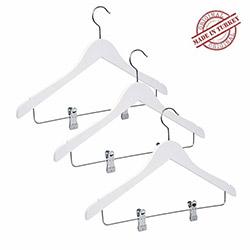 NYN 13-1M 3'lü Mandallı Elbise Askısı - Beyaz
