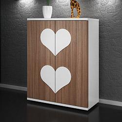 Comfy Home Kalp 4 Katlı Ayakkabılık - Ceviz / Beyaz