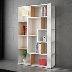 House Line Tower Kitaplık - Beyaz / Teak