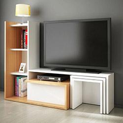 House Line Silva Tv Ünitesi - Beyaz / Teak