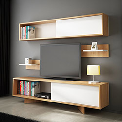 House Line Soft Tv Ünitesi - Teak / Beyaz