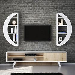House Line Elips Tv Ünitesi - Beyaz / Safir Meşe