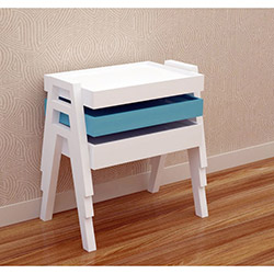 Wood House Fier Zigon Sehpa - Mavi / Beyaz