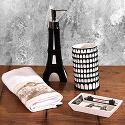 Bosphorus Eyfel Figürlü 3'lü Banyo Seti - Siyah
