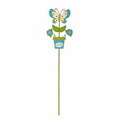 Bosphorus Ahşap Kelebek Saplamalı Bahçe Süsü - Mavi/Beyaz