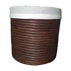 Palmiye Ağacı İçi Kumaşlı Sepet (28x28x28 cm) - Çikolata Kahve