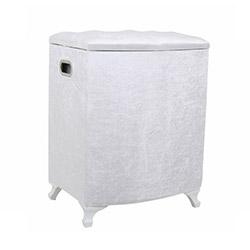 Fidex Home Kadife Deri Kirli Çamaşır Sepeti - Beyaz