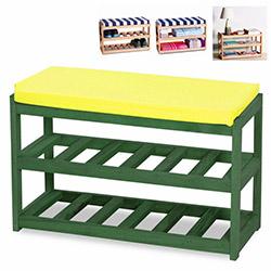 House Line Çok Amaçlı Ahşap Puf - Yeşil / Sarı