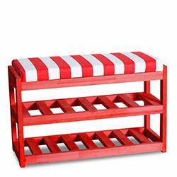 House Line Çok Amaçlı Ahşap Puf - Kırmızı / Renkli