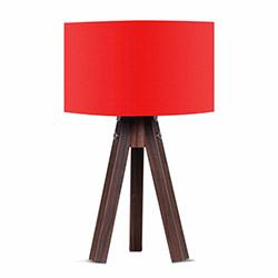 Comfy Home 3 Ayaklı Tripod Abajur - Kırmızı / Kahve