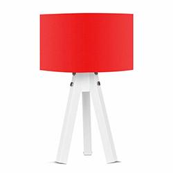 Comfy Home 3 Ayaklı Tripod Abajur - Kırmızı / Beyaz