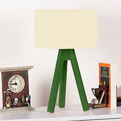 Comfy Home 3 Ayaklı Tripod Abajur - Krem / Yeşil