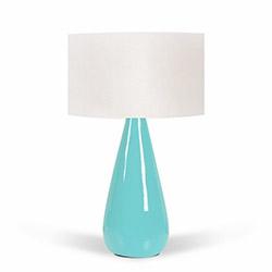 Florence Seramik Abajur - Beyaz / Mavi