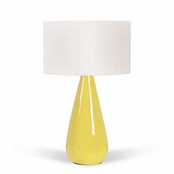 Florence Seramik Abajur - Beyaz / Sarı