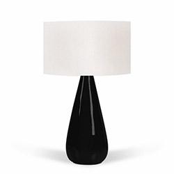 Florence Seramik Abajur - Beyaz / Siyah