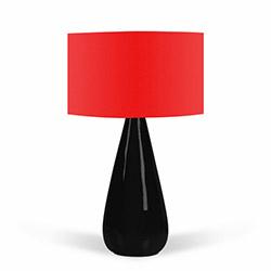 Florence Seramik Abajur - Kırmızı / Siyah