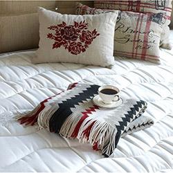 Yataş Zigzag Koltuk Şalı - Kırmızı/Taş/Siyah