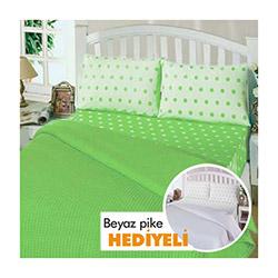 Merya Ranforce Lüks Biyeli Çift Kişilik Pike (1 Alana 1 Bedava) - Fıstık Yeşili