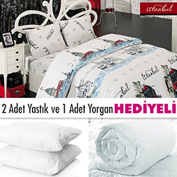 Lavienna Love-İstanbul 10602-01 Çift Kişilik Nevresim Takımı (Yorgan ve Yastık Hediyeli)