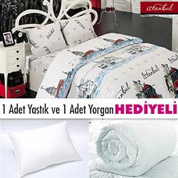 Lavienna Love-İstanbul 10602-01-T Tek Kişilik Nevresim Takımı (Yorgan ve Yastık Hediyeli)