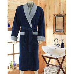 Virginia Secret 9030 M-L Erkek Bornoz - Mavi (Havlu Hediyeli)