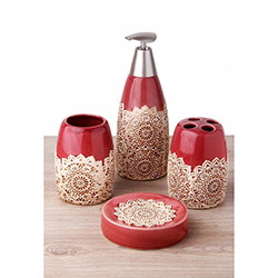 Simple Living G1255 4'lü Seramik Banyo Seti - Kırmızı Outlet