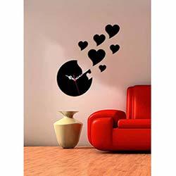 Kalp Saat Siyah Dekoratif Kırılmaz Akrilik Saat