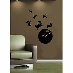 Yengeç Saat Siyah Dekoratif Kırılmaz Akrilik Saat