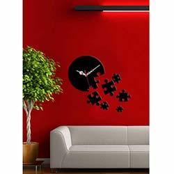 Puzzle Saat Siyah Dekoratif Kırılmaz Akrilik Saat