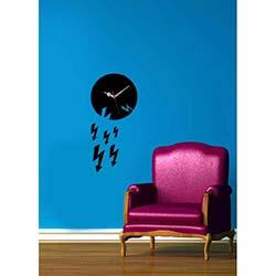Şimşek Saat Siyah Dekoratif Kırılmaz Akrilik Saat