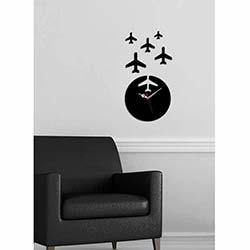 Uçak Saat Siyah Dekoratif Kırılmaz Akrilik Saat