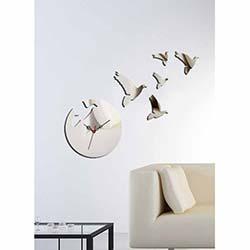 Küçük Boy Güvercin Saat Dekoratif Kırılmaz Ayna Saat