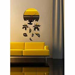 Küçük Boy Yaprak Saat Dekoratif Kırılmaz Ayna Saat