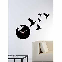 Küçük Boy Güvercin Saat Siyah Dekoratif Kırılmaz Akrilik Saat